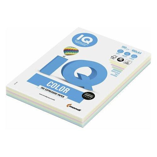 Фото - Бумага цветная IQ color, А4, 160 г/м2, 100 л. (5 цветов x 20 листов), микс пастель, RB01 бумага цветная iq color а4 160 г м2 100 л 5 цветов x 20 листов микс интенсив rb02