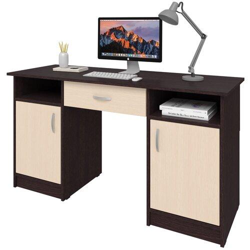 Фото - Письменный стол СитиМебель Хит-10, ШхГ: 140х50 см, цвет: венге цаво/дуб молочный письменный стол ситимебель компактный шхг 140х50 см цвет венге цаво