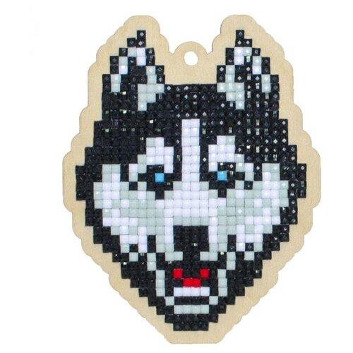 Купить Алмазная вышивка на дереве Подвеска «Хаски», 7, 3x9, 3 см, Гранни Wood, Алмазная мозаика