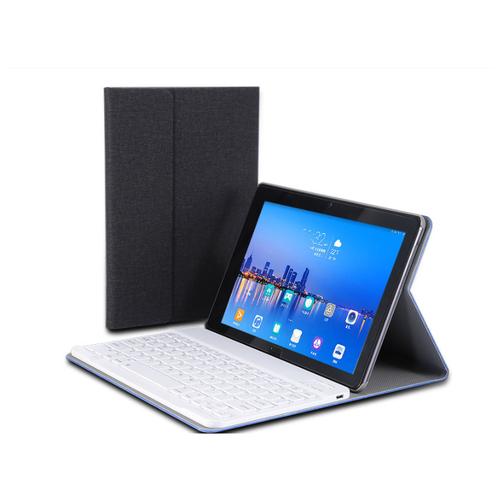 Клавиатура MyPads для Huawei MediaPad T5 10 (AGS2-L09/ AL00/ W09) съемная беспроводная Bluetooth в комплекте c кожаным чехлом и пластиковыми наклейками с русскими буквами