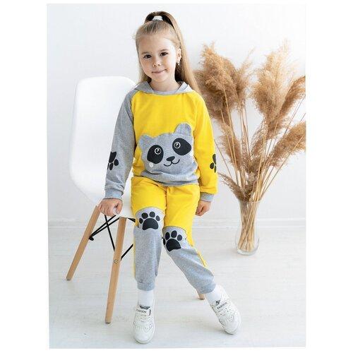 Костюм детский 746, Утенок, размер 56(рост 104 см) желтый_меланж_панда (толстовка с капюшоном и брюки)