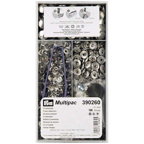Prym Кнопки непришивные Анорак 390260, серебристый, 15 мм, 100 шт.