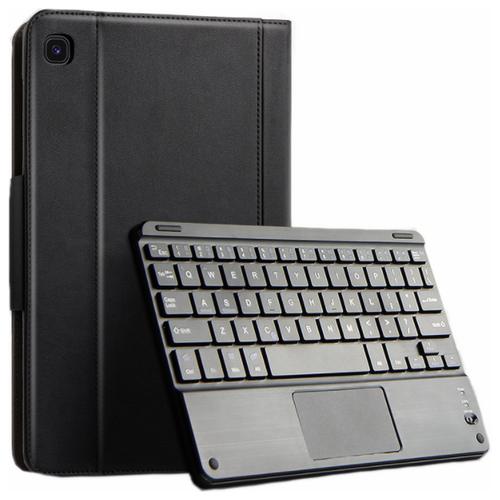 Чехол-клавиатура MyPads для Samsung Galaxy Tab S6 Lite 10.4 SM-P610 / P615 съёмная беспроводная Bluetooth-клавиатура черная кожаная + гарантия + русские буквы