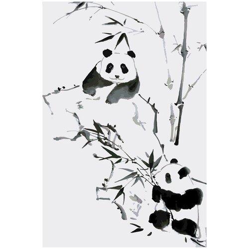Купить Картина по номерам Китайская живопись - Панда, 80 х 120 см, Красиво Красим, Картины по номерам и контурам