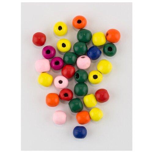 Бусины деревянные 40 г., MG-B 115, Magic 4 Hobby, розовый, синий, желтый бусины деревянные детские 40 г mg b magic 4 hobby желтый зеленый