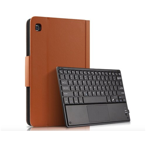 Клавиатура Mypads для Samsung Galaxy Tab A 10.1 SM-T510 (2019) / Samsung Galaxy Tab A 10.1 SM-T515 (2019) съёмная беспроводная Bluetooth в комплекте c кожаным чехлом и пластиковыми наклейками с русскими буквами