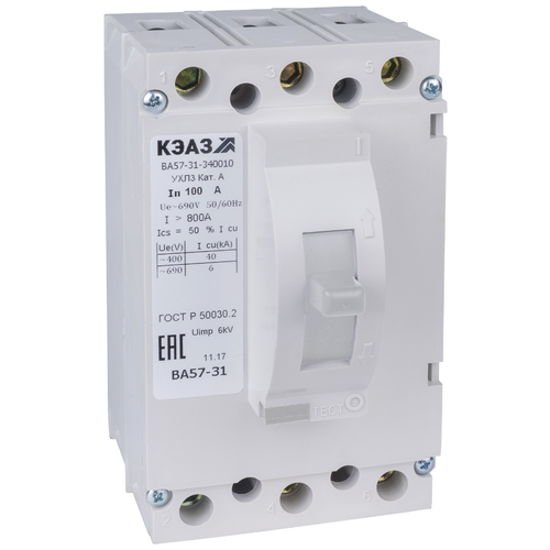 Автоматический выключатель КЭАЗ ВА57-31-340010-1200-690AC-УХЛ3-КЭАЗ 3P 40kA 100 А