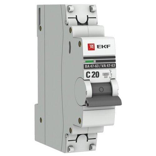 Фото - Автоматический выключатель EKF ВА 47-63 1P (C) 6kA 20 А автоматический выключатель ekf ва 47 63 1p b 6ka 50 а