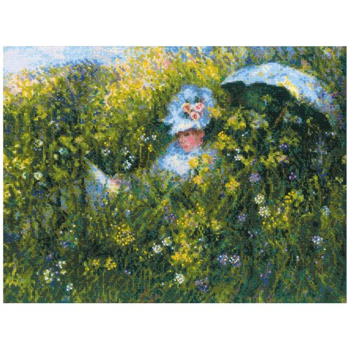 Купить Риолис Набор для вышивания крестом На лугу по мотивам картины К. Моне 40 x 30 см (1850), Наборы для вышивания