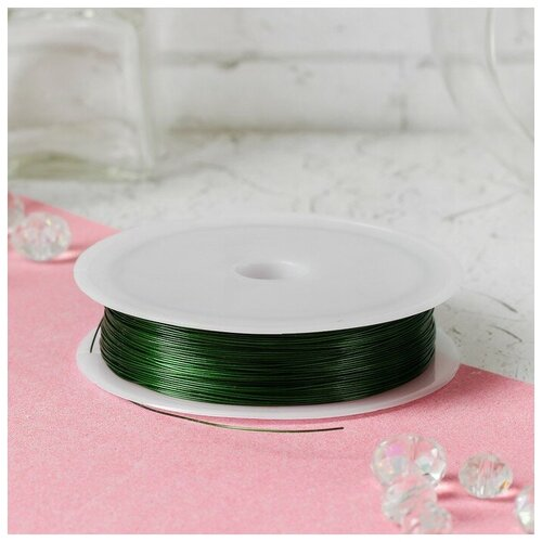 Купить Проволока для бисероплетения диаметр 0, 4 мм, длина 30 м, цвет зеленый 3801466, Сима-ленд, Фурнитура для украшений