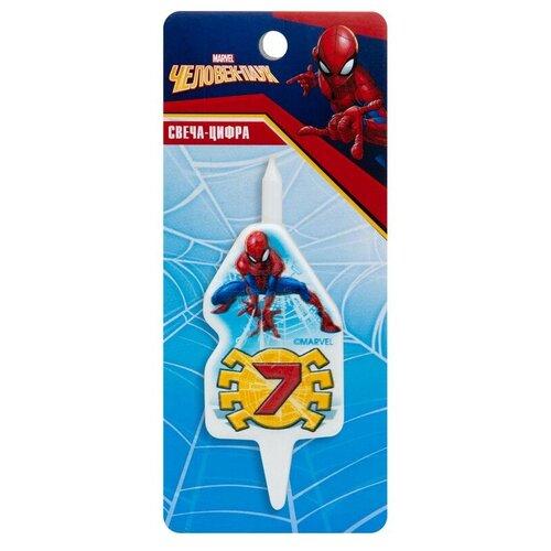 Омский Свечной 7 Человек Паук, 7 см белый/красный/синий/желтый