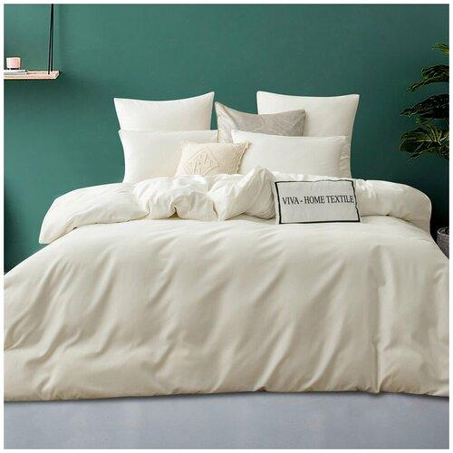 Комплект постельного белья ситрейд Евро однотонный молочный, Сатин, наволочки 50x70, 70x70 по 2 шт. комплект постельного белья karna евро сатин однотонный loft екрю 2986 char003