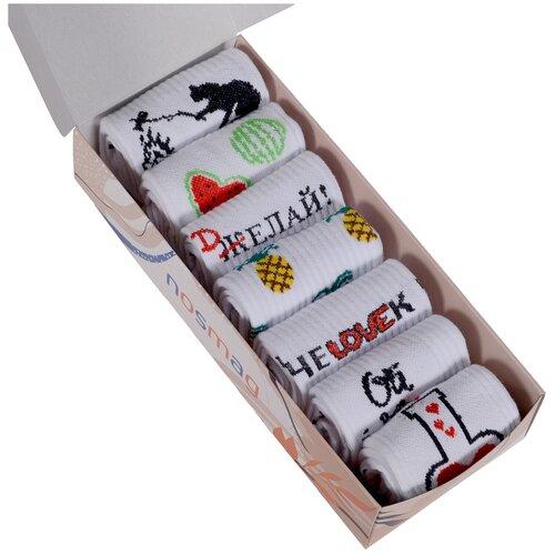Набор из 7 пар женских носков (Челны Текстиль) микс, размер 23-25 (36-39)