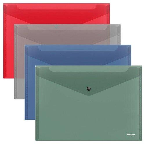 Папка-конверт на кнопке пластиковая Diagonal Classic, непрозрачная, A4, ассорти недорого