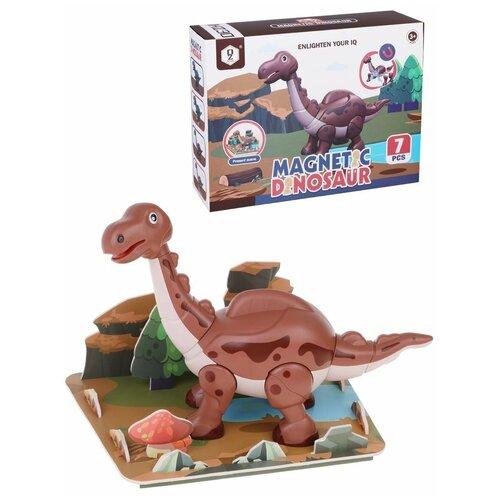 Фото - Магнитный конструктор Наша Игрушка Динозавр, 7 деталей (HD401A) конструкторы наша игрушка гибкий динозавр 27 деталей