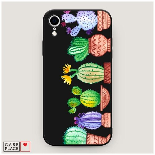 Чехол силиконовый Матовый iPhone XR (10R) Кактусы рисунок