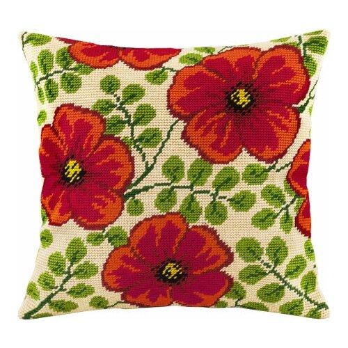 Подушка полукрестом чарiвниця арт. V98 Красные цветы 40х40 см