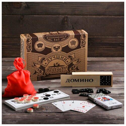Купить ЛАС играс Подарочный набор 3 в 1 «Лучший рыбак», домино, лото, карты, Лас Играс, Настольные игры
