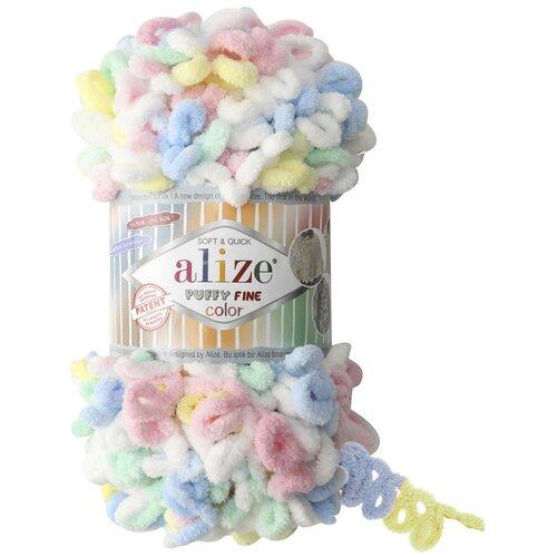 Пряжа Alize Puffy Fine Color, 14,5 метров, 5 мотков по 100 грамм, цвет: 5949 секционный