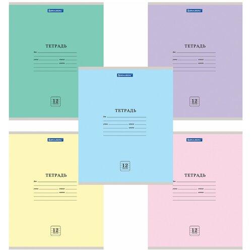 Купить Тетрадь 12 л. BRAUBERG ЭКО , линия, обложка плотная мелованная бумага, ассорти (5 видов), 105672, Тетради