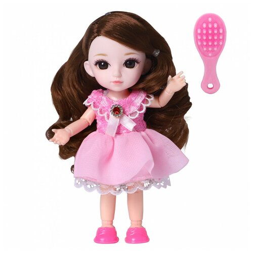 Кукла шарнирная Funky Toys Малышка Лили, шатенка, с расческой, 16 см 72004