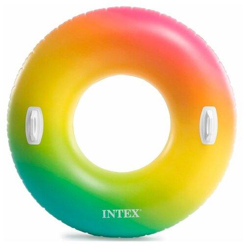 Фото - Разноцветный надувной круг INTEX, 122 см, от 9 лет надувной круг intex river rat 122см от 12лет 68209