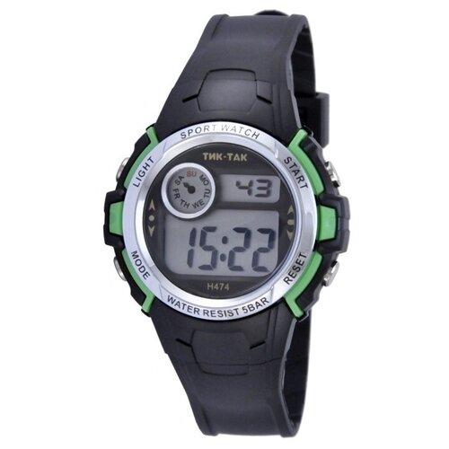 Детские электронные часы Тик Так Н474 WR50 черно-зеленые