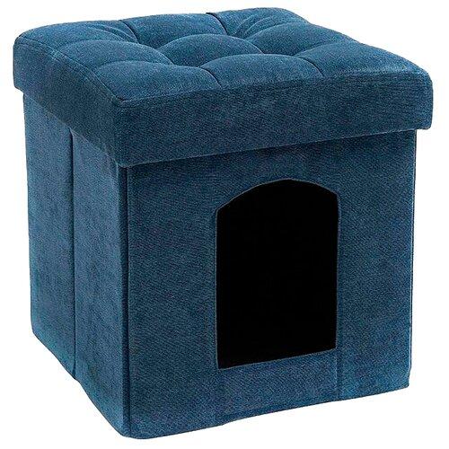 Пуфик DreamBag Складной для животных вельвет синий