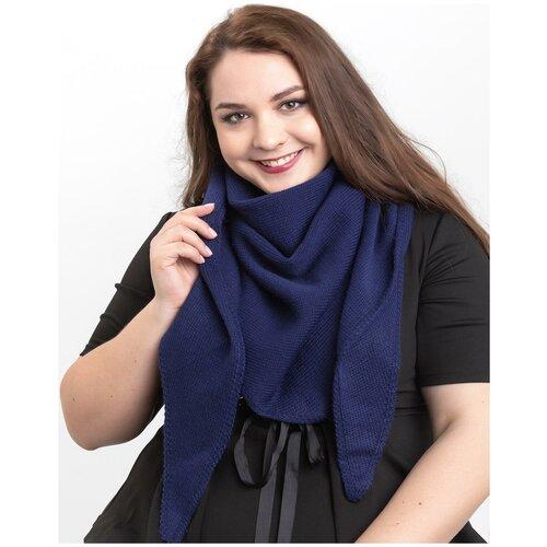 Женский теплый шарф-платок из шерсти, ТМ Reflexmaniya, RN168-Темно-синий