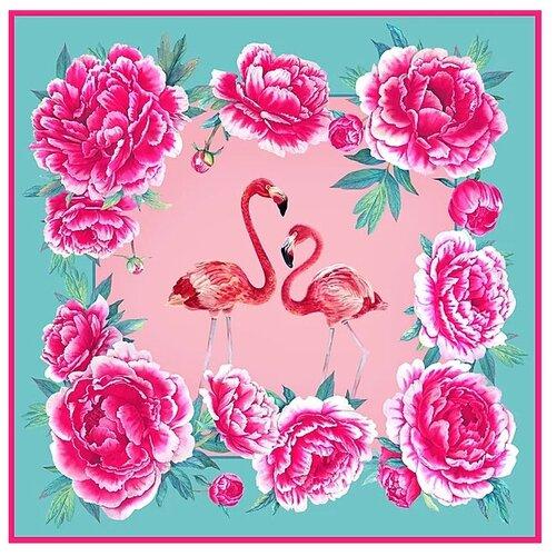 Платок Русские в моде by Nina Ruchkina Фламинго зеленый/розовый
