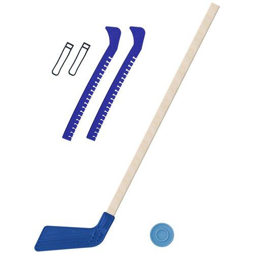 Набор зимний: Клюшка хоккейная синяя 80 см.+шайба + Чехлы для коньков синие, Задира-плюс