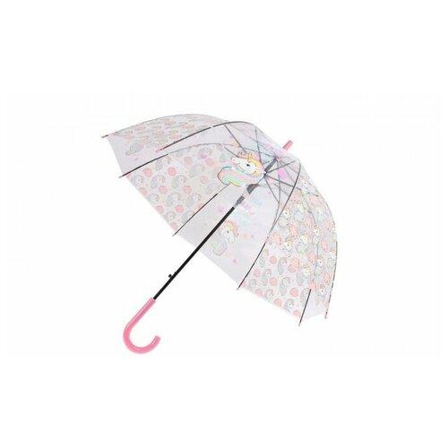 Зонт прозрачный детский «ЕДИНОРОГ» розовый