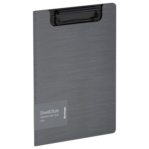 Berlingo Папка-планшет с зажимом Steel&Style A5+, пластик серебристый металлик