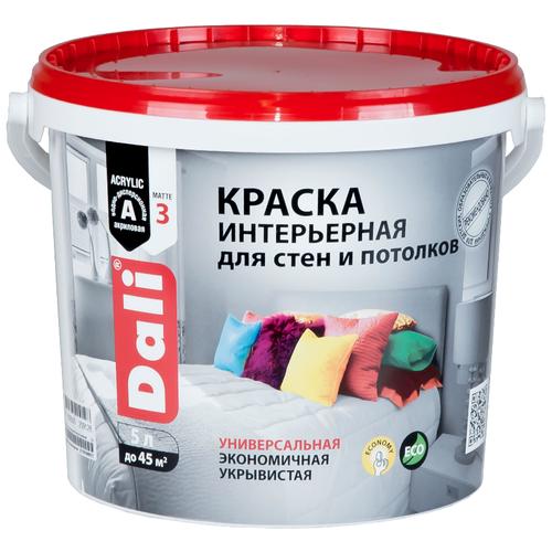 Краска акриловая DALI интерьерная для стен и потолков влагостойкая моющаяся глубокоматовая белый 5 л