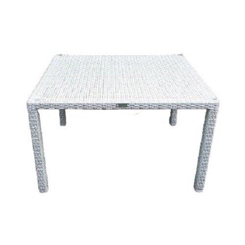 Стол Престиж прямоугольный, плетеный из искусственного ротанга, белое дерево