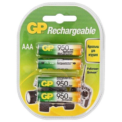 Фото - Аккумулятор Ni-Mh 950 мА·ч GP Rechargeable 950 Series AAA, 4 шт. аккумулятор ni mh 950 ма·ч gp rechargeable 1000 series aaa 6 шт