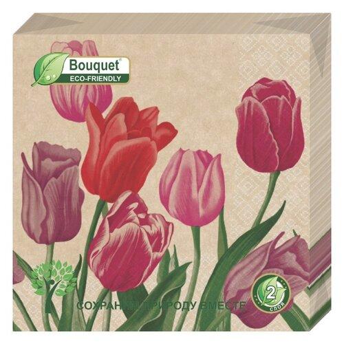 """Купить Салфетки бумажные eco-friendly Bouquet, Крафт """"Тюльпаны"""" 1 упаковка по 25 штук, размер 33х33 сантиметра, 2-х слойные."""