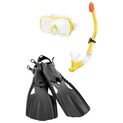 Набор для плавания с ластами Intex Wave rider sports желтый