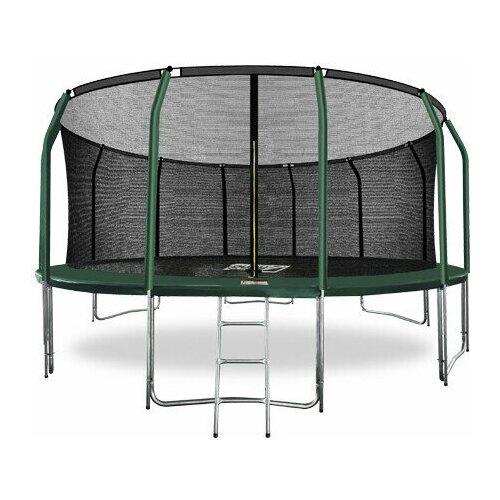 Фото - Батут ARLAND премиум 16FT с внутренней страховочной сеткой и лестницей (Dark green) (темно-зеленый) батут 12ft с внутренней страховочной сеткой и лестницей light green arland