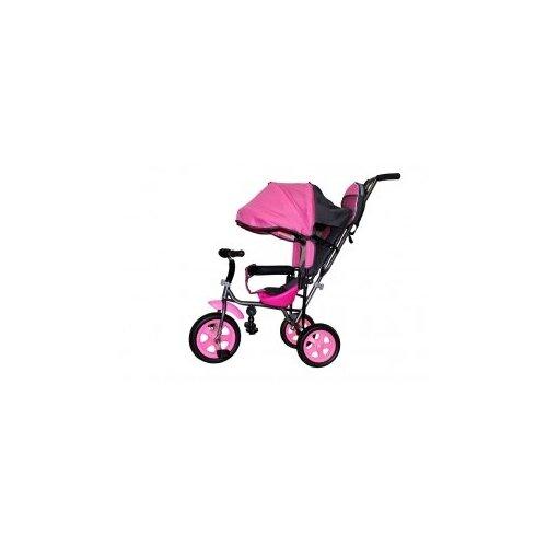 Купить Велосипед детский трехколесный с родительской ручкой Liga PC надувные колеса (розовый), Stiony, Трехколесные велосипеды