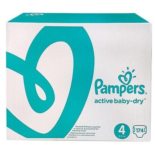 Фото - Pampers подгузники Active Baby-Dry 4 (8-14 кг), 174 шт. pampers подгузники new baby dry 1 2 5 кг 27 шт