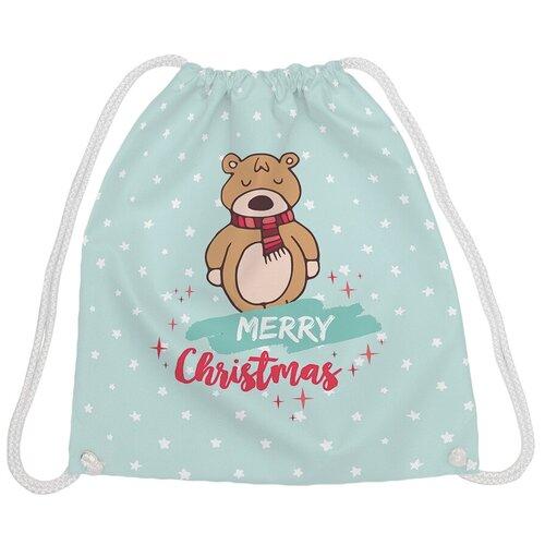JoyArty Рюкзак-мешок Счастливого рождества bpa_185491, голубой/коричневый joyarty рюкзак мешок радужные окошки bpa 207087 голубой