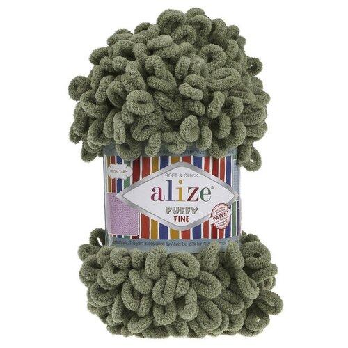 Купить Набор пряжи Alize Puffy Fine , 14 метров, 5 мотков по 100 грамм, цвет: 3 хаки, Пряжа