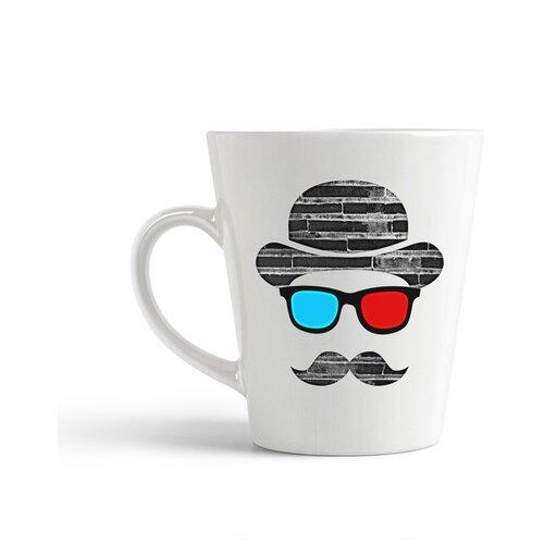 Кружка-латте CoolPodarok Шляпа 3д очки усы