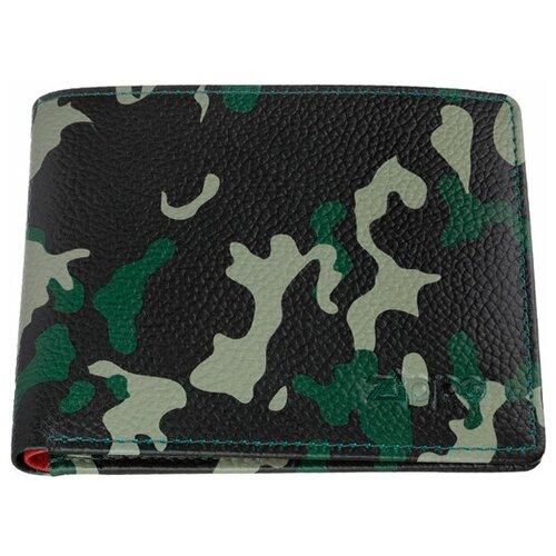 Фото - Портмоне ZIPPO, зелёно-чёрный камуфляж, натуральная кожа, 10,8×2,5×8,6 см портмоне zippo серо чёрный камуфляж натуральная кожа 11 2x2x8 2 см