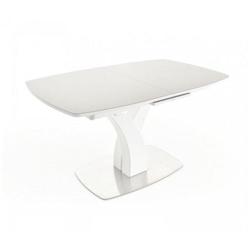 EVITA Стол обеденный раздвижной Нотр-Дам столешница стекло Opti цвет серый опора белая/140(171,5)*85*76 см/Стол для гостиной/Стол для столовой/Стол для кухни/Дизайнерский стол