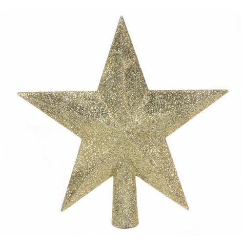Елочная верхушка звезда делюкс, пластик, глиттер, цвет: золотой, 19 см, Kaemingk 029540