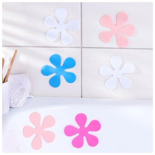Доляна Набор мини-ковриков для ванны Доляна «Цветочек», 10,5×10,5 см, 6 шт, цвет микс