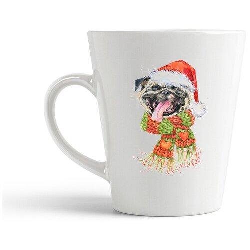 Кружка-латте CoolPodarok Новый год собака в шапке