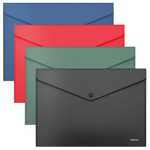 Папка-конверт на кнопке пластиковая Fizzy Classic, непрозрачная, А4, ассорти недорого